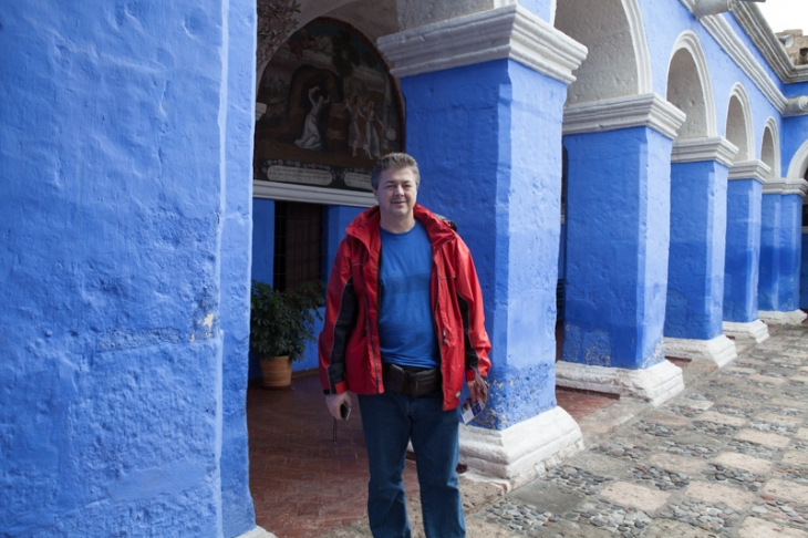 Bogdan Fiedur standing in a monestary in Arequipa, a city in Peru