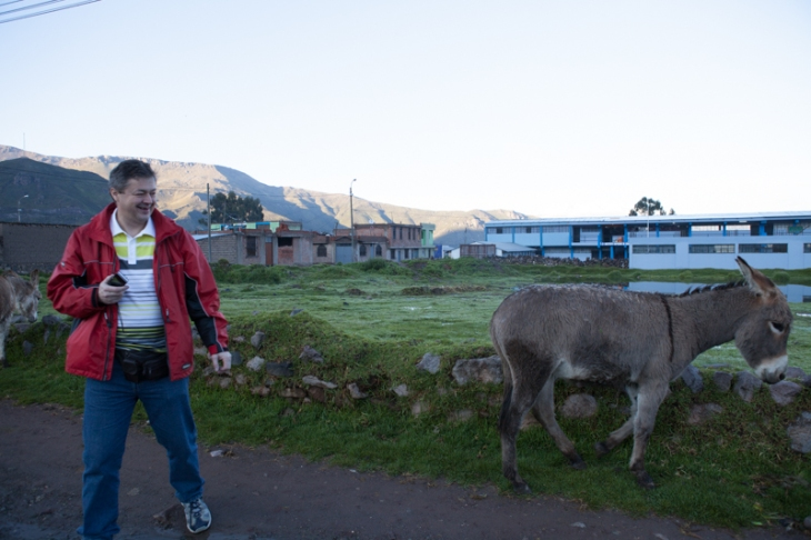 Bogdan Fiedur traveling in Peru met a donkey on the road