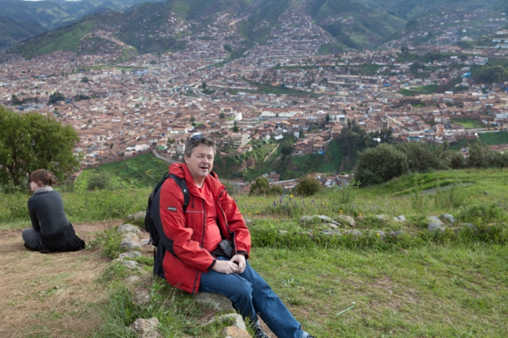 Bogdan Fiedur with a Peruvian city off in the distance