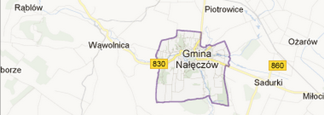 small map of Nałęczów,Poland